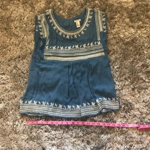 Blue embroidered baby doll top